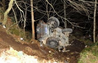 Trabzon'da zırhlı polis aracı devrildi: 2 polis yaralı