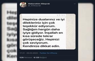 """Abdurrahim Albayrak: """"Sağlığım her gün daha iyiye gidiyor"""""""