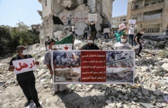 İdlib'de Rusya protesto edildi