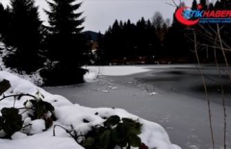 Doğal güzellikleriyle dikkati çeken Balıklıgöl'ün yüzeyi buz tuttu