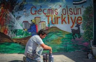 Suriyeli grafiti sanatçısı Esmer'den orman yangınlarıyla mücadelede Türk halkına destek