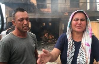 Yeni aldıkları eşyaları ve evleri yanan çift yaşadıklarını gözyaşları içinde anlattı