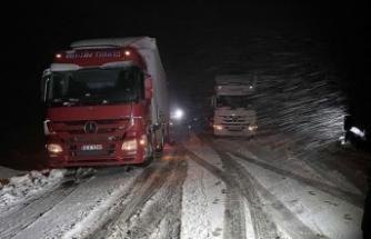 Ardahan'da kar ve tipi nedeniyle tırlar yolda kaldı