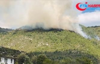 Manavgat'ta ormanlık alanda çıkan yangın kontrol altına alınmaya çalışılıyor