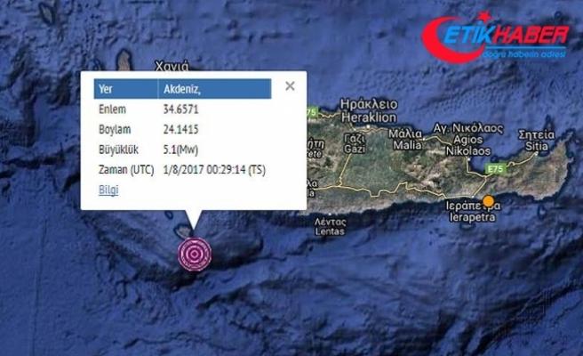 Akdeniz'de 5,1 büyüklüğünde deprem