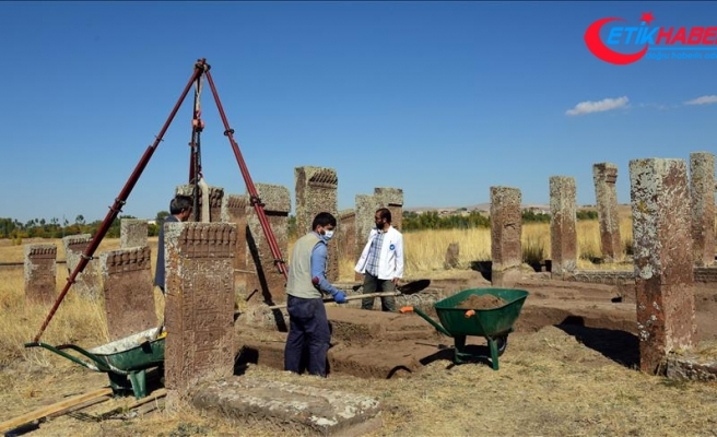 Ahlat'taki Selçuklu Mezarlığı'nda yeni mezar taşları bulundu