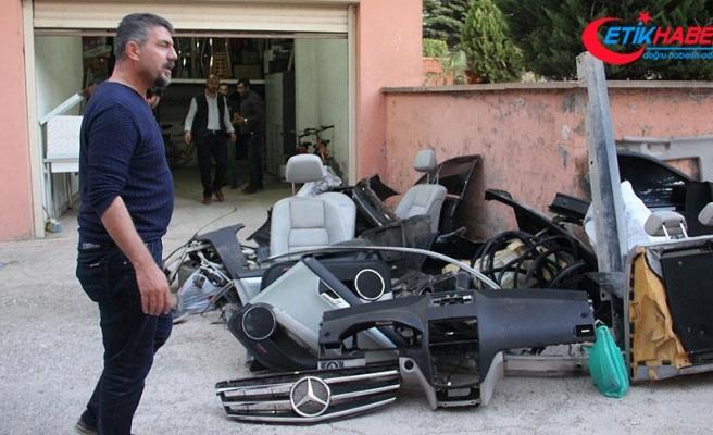 Tamire gönderilen otomobil parçalanmış halde bulundu