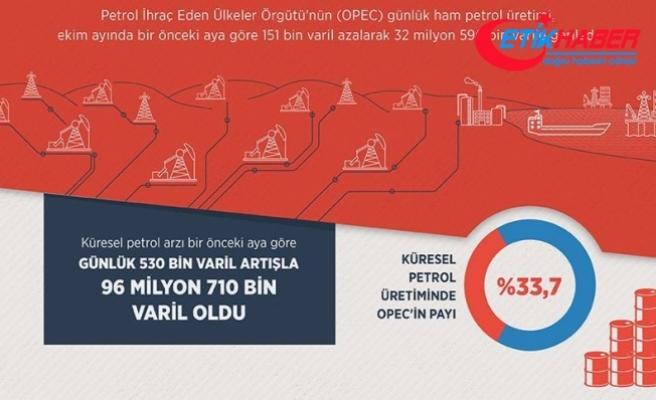 OPEC'in petrol üretimi ekimde düştü