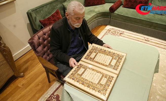 Ahşap üzerine yazdığı 30 cüzü Çamlıca Camisi'ne hediye edecek
