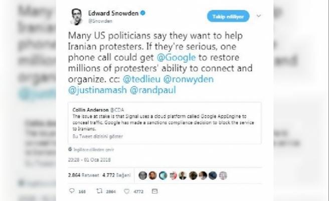 Snowden: ABD ciddiyse Google'a bir telefonla İranlı göstericilere destek olabilir