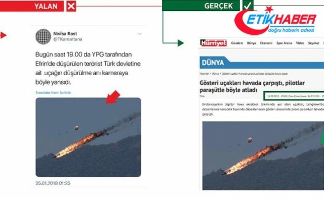 Terör örgütü PYD/PKK Malezya'da düşen akrobasi uçağını 'Afrin' diye paylaştı