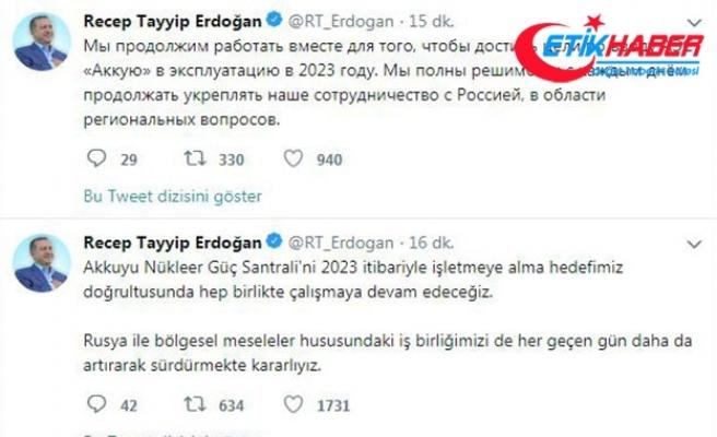 Erdoğan: Rusya ile işbirliğimizi artırmakta kararlıyız