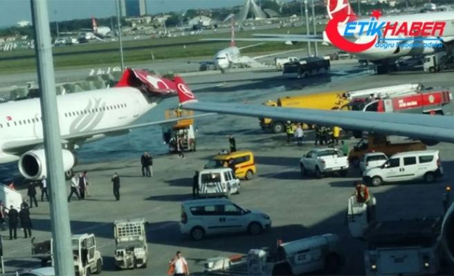 Atatürk Havalimanı'nda uçağın kanadı kuyruğa vurdu