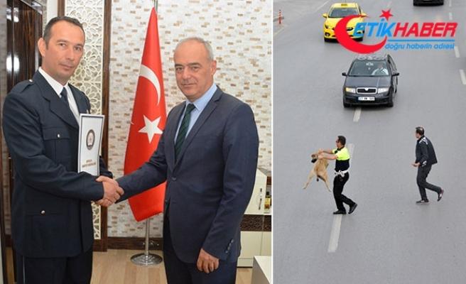 Köpeği yolun karşısına geçirdi, 'Ayın Polisi' seçildi