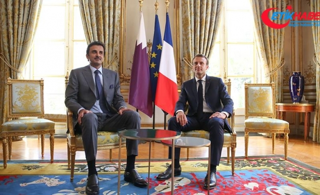 Macron ve Şeyh Temim'den ortak basın toplantısı