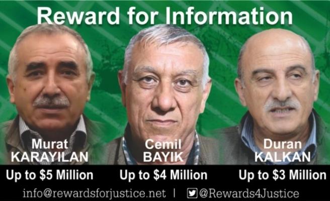 ABD 3 PKK'lı terörist için 12 milyon dolar ödül koydu