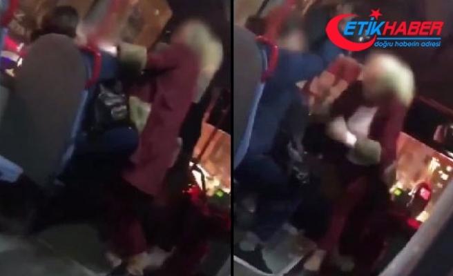 Kadınlar yolcu otobüsünde kavga etti