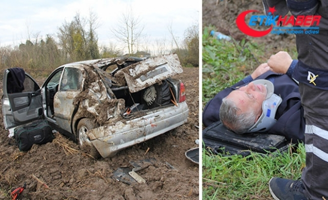 Muhtarın otomobili takla attı: 3 yaralı