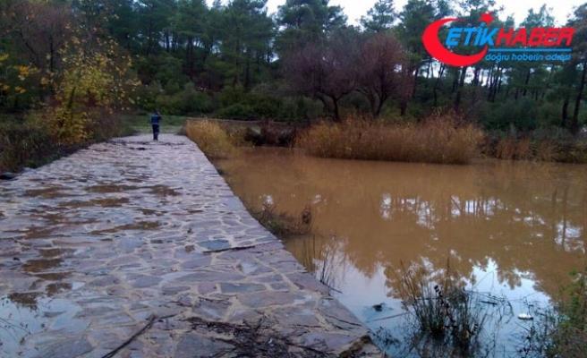 Mumcular Barajı'nı besleyen derede kaçak su bendi bulundu