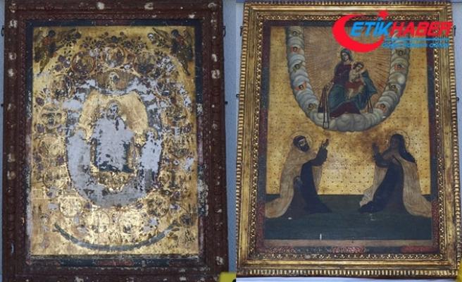 Diyarbakır'da Roma dönemine ait altın işlemeli 2 tablo ele geçirildi