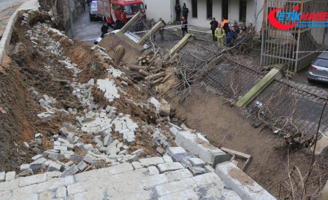 Beykoz'da duvar çöktü