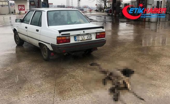 Köpeği otomobilin arkasına iple bağlayıp, kilometrelerce sürükledi