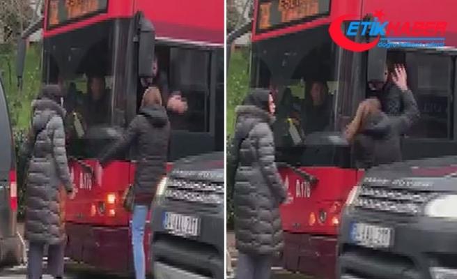 Bahçeşehir'de kadınlarla otobüs şoförü birbirine girdi