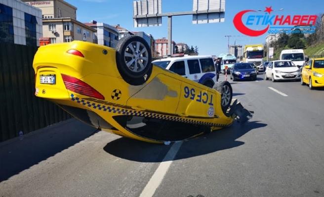 D-100'de taksi takla attı