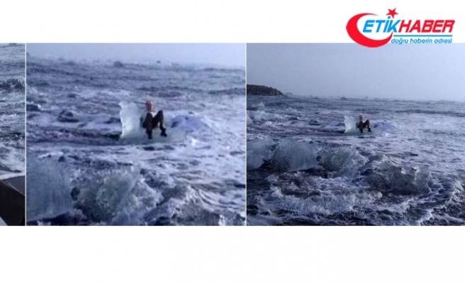 Poz veren yaşlı kadını dalgalar götürdü