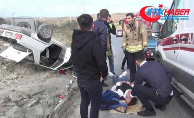 Aracıyla takla atan lise öğrencisi yaralandı