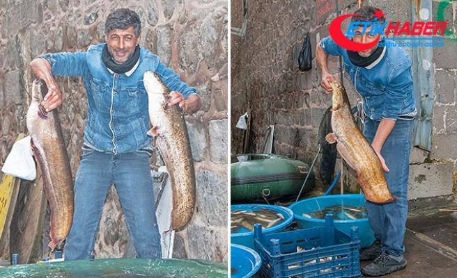 Gece attığı ağda, sabah 2 dev balık buldu