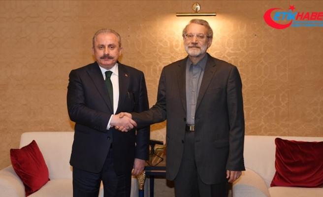 TBMM Başkanı Şentop İran Meclis Başkanı Laricani'yle görüştü