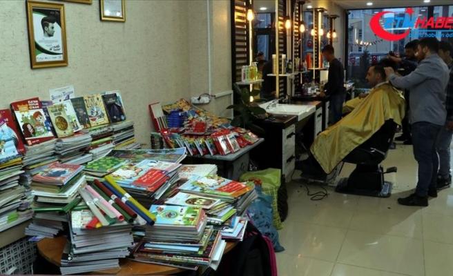 Ücretsiz tıraşla toplanan kitaplar köy çocuklarına çifte bayram yaşattı