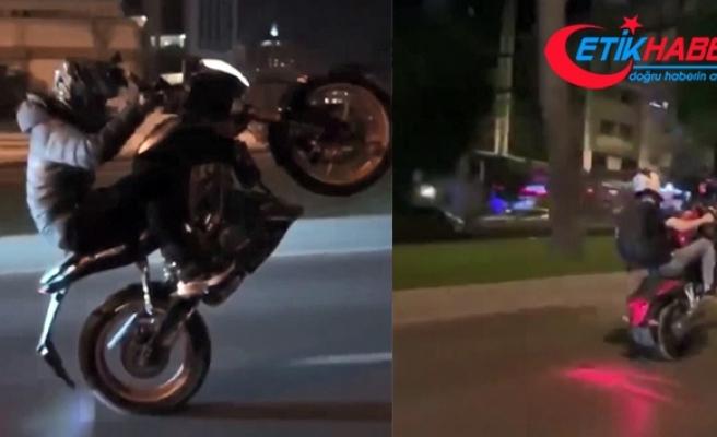 Motosikletli magandanın tek teker terörü kamerada