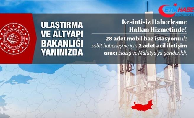 Ulaştırma ve Altyapı Bakanlığı: Deprem bölgesinde 23 mobil baz istasyonu görev yapıyor
