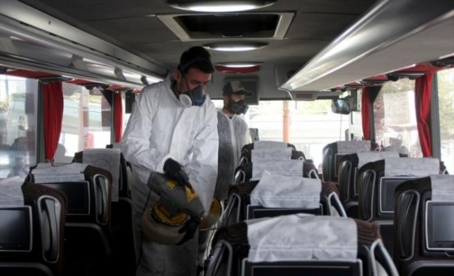 Edirne Otogarı koronavirüs tedbirleri kapsamında dezenfekte edildi