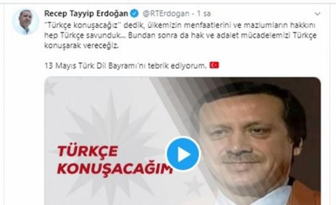 """Cumhurbaşkanı Erdoğan'dan """"Türk Dil Bayramı"""" paylaşımı"""