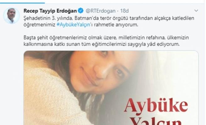 """Cumhurbaşkanı Erdoğan'dan """"Aybüke Yalçın"""" mesajı"""