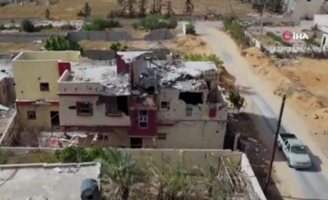 Hafter milislerin Trablus'ta bıraktığı yıkım havadan görüntülendi