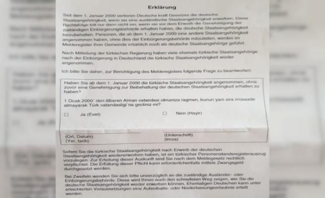 Almanya'da yaşayan Türklere mektupla vatandaşlık sorgusu