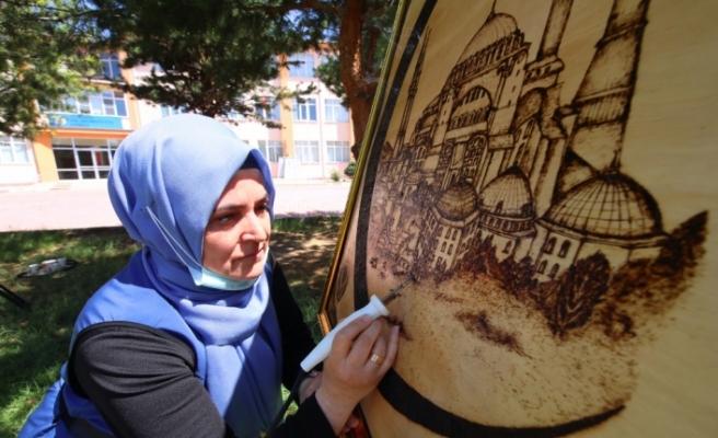 Ayasofya-i Kebir Camii'nin açılış sevinci tabloya nakşedildi