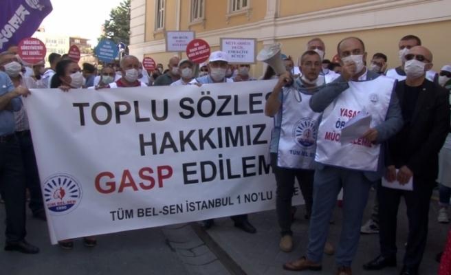 Sözleşmeleri yenilenmeyen Bakırköy Belediyesi çalışanları eylem yaptı