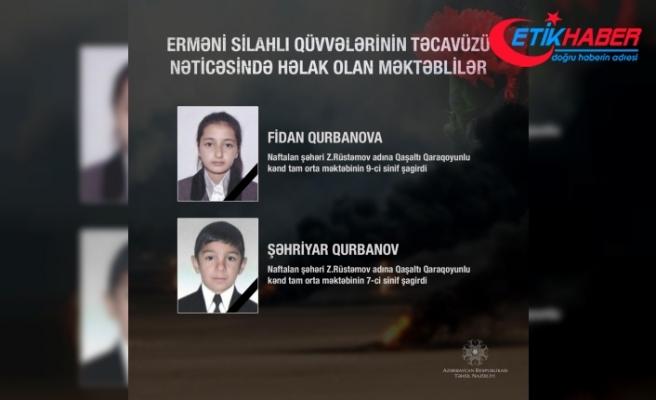 İşgalci Ermenistan saldırısında şehit olan siviller arasında iki de çocuk var