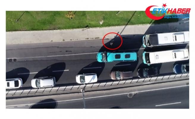 Uyanık minibüsçü polis dronundan kaçamadı