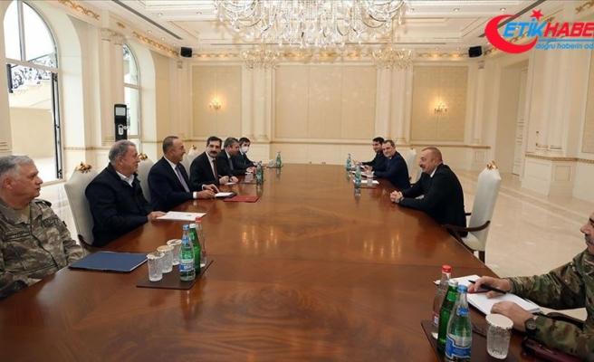Azerbaycan Cumhurbaşkanı Aliyev, Çavuşoğlu ve Akar ile görüştü