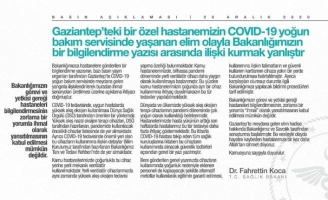 Bakan Koca'dan Gaziantep'te hastanedeki patlamayla ilgili açıklama