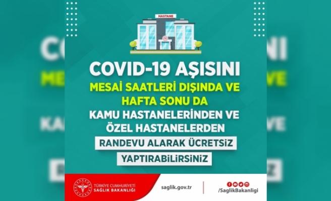Covid-19 aşısı mesai saatleri dışında ve hafta sonu da yaptırılabilecek