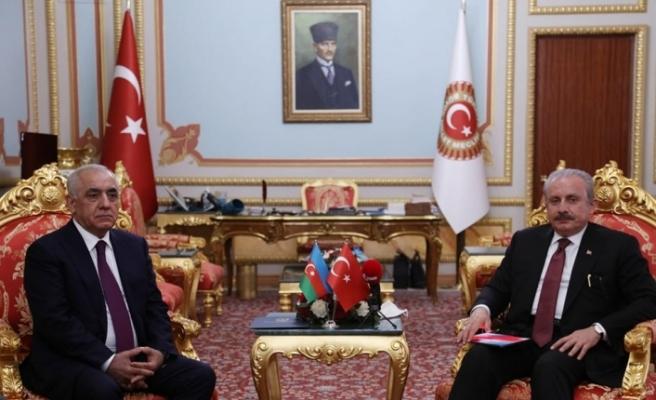 TBMM Başkanı Şentop, Azerbaycan Başbakanı Esedov'u Meclis'te misafir etti