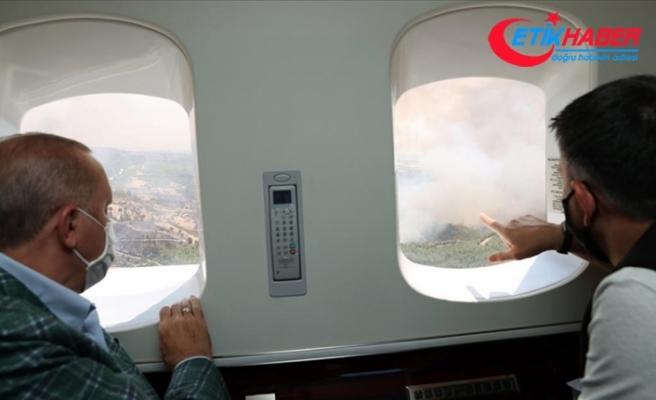Cumhurbaşkanı Erdoğan Antalya'da orman yangınlarının yaşandığı bölgeleri helikopterden inceledi