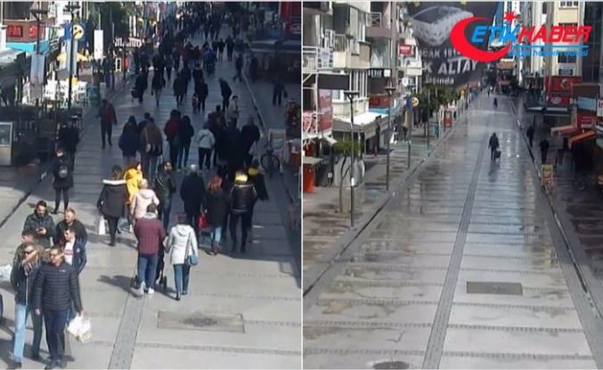 Kovid-19 önlemleri öncesi ve sonrası İzmir'den görüntüler
